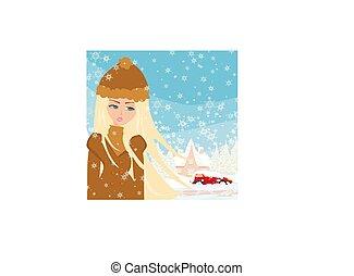 automobilen, stak, ind, den, sne
