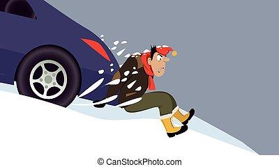 automobilen, stak, ind, sne