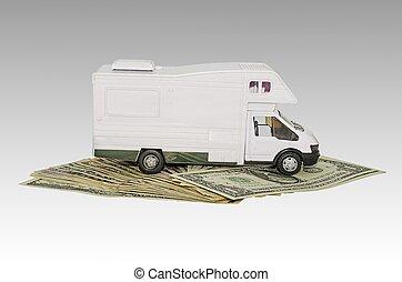 automobilen, stykke legetøj, penge