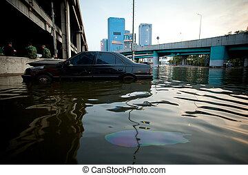 automobilen, swamping, ind, oversvømme vand