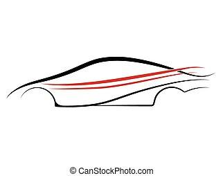 automobilen, udkast, konstruktion, ind, vektor