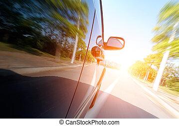 automobilen, vejen, hos, motion slør, baggrund