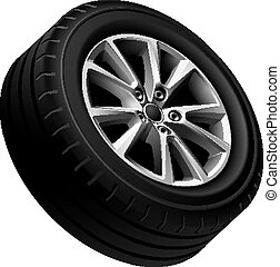 Automobiles alloy wheel isolated