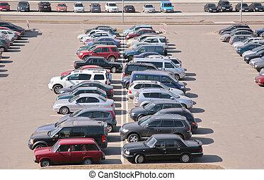 automobiles, sur, stationnement