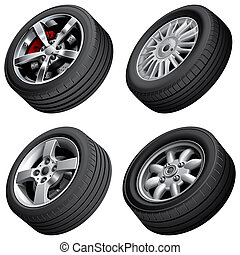 Automobiles wheels bundle - High quality vector bundle of...