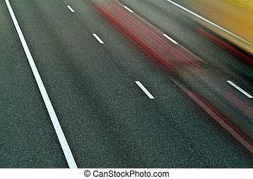 automobili, autostrada, guida, sfocato