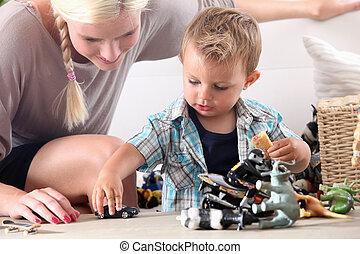 automobili, bambino, giocattolo, gioco, madre