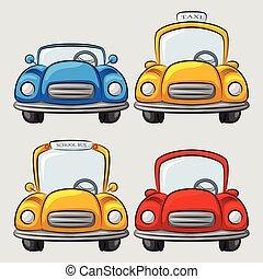 automobili, cartone animato, collezione