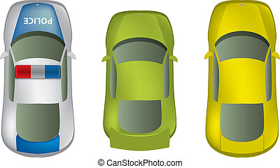 automobili, cima, set, differente, vista
