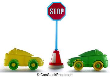 automobili, coppia, fermi segnale, dietro, strada