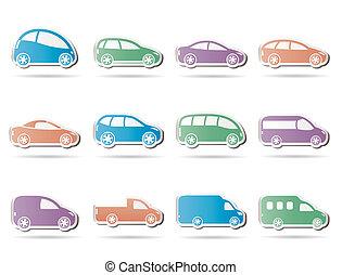 automobili, differente, tipi, icone