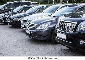 automobili, esterno, lotto, parcheggio
