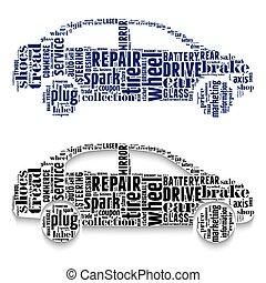 automobili, fatto, nubi, words.