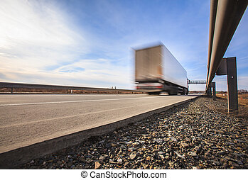 automobili, -, moto macchiato, traffico, autostrada