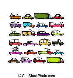 automobili, progetto serie, tuo, collezione
