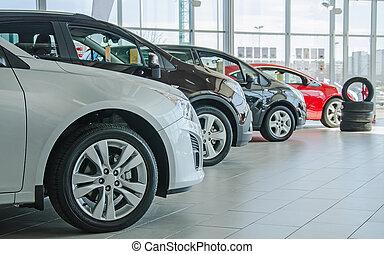 automobili, salon., concessionario, parecchi, nuovo