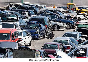 automobili, scarto, vecchio, iarda, centinaia