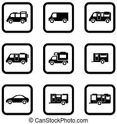 automobili, set, campeggiatore