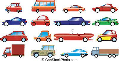 automobili, set, simbolico