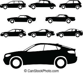 automobili, silhouette
