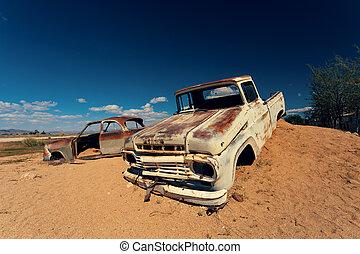 automobili, solitario, africa, abbandonato, namibia