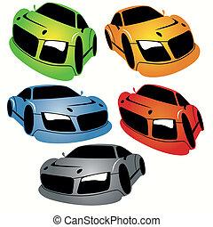 automobili, stile, set, da corsa, cartone animato