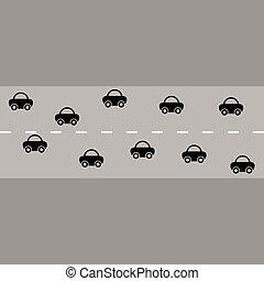 automobili, strada, illustrazione