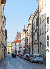 automobili, strada, parcheggiato, marciapiede, stretta, europeo