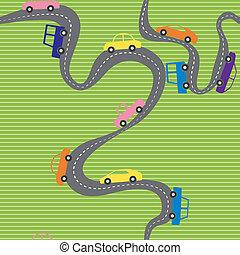 automobili, strada, seamless, fondo