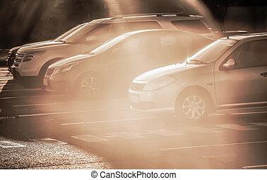 automobili, strada, sole