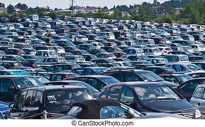automobili, su, parcheggio