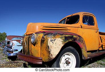 automobili, vecchio, abbandonato