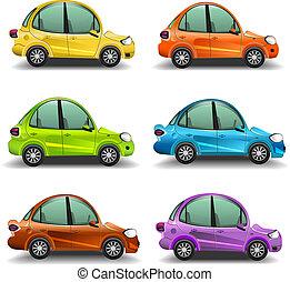 automobili, vettore, cartone animato, colorito