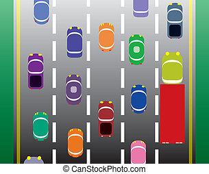 automobili, vettore, strada