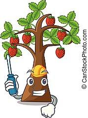 automobilistico, cartone animato, albero, isolato, fragola