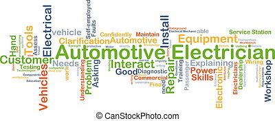 automobilistico, concetto, elettricista, fondo