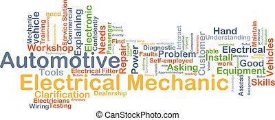 automobilistico, concetto, elettrico, meccanico, fondo