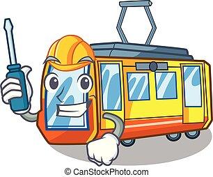 automobilistico, miniatura, treno elettrico, in, cartone...