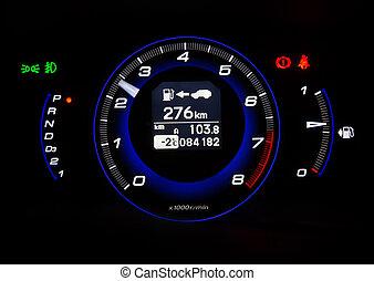 automobilistico, tachimetro, su, sfondo nero