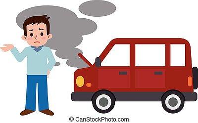 automobilistisk, mænd, besvær, fiasko