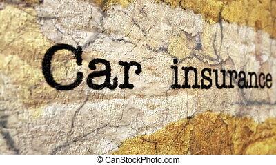 automobilversicherung, grunge, begriff