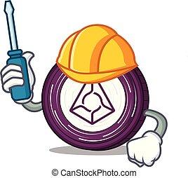 Automotive Augur coin mascot cartoon