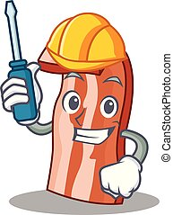 Automotive bacon mascot cartoon style vector illustration