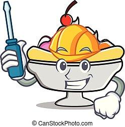 Automotive banana split mascot cartoon vector illustration