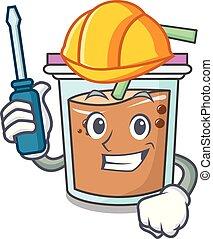Automotive bubble tea mascot cartoon