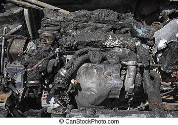 Automotive, burned car engine