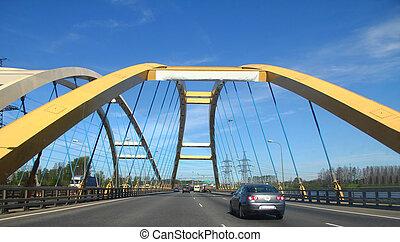 automotive cable-stayed bridge