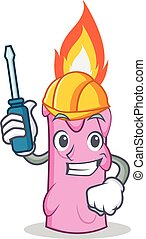 Automotive candle character cartoon style vector...