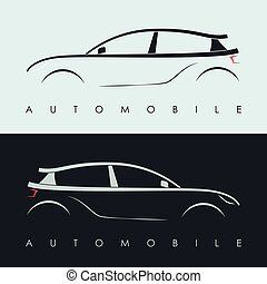 Automotive car logo design. Black and grey sports vehicle...