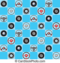 Automotive childish wallpaper with steering wheels